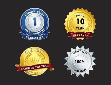 rosette: El logro, la aprobaci�n, la vendimia, la garant�a, el ganador Vectores