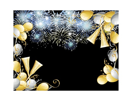 Balloons and fireworks to celebrate. Stock Vector - 11583256