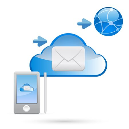 e-mail, email, envelope, Cloud, clouds Vector