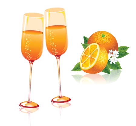mixed drink: 2 glasses of orange juice, orange on a white background