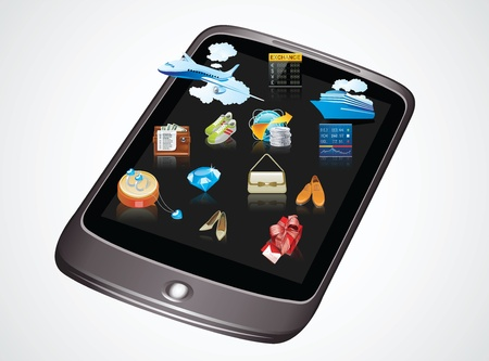 multifunction: Multifunction mobile phone. Displayed on the screen Illustration