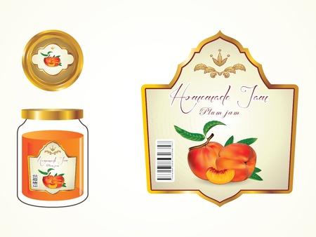 Labels, fruit jam, jam potten en deksels om het label te zien.