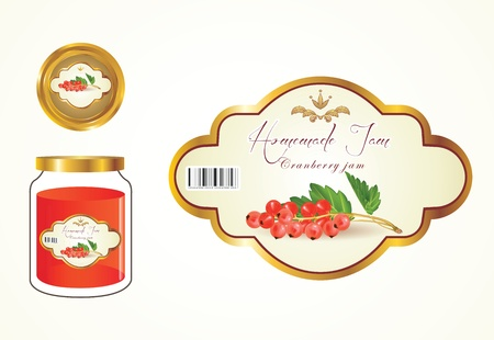 Labels, fruit jam, jam jars and lids to see the label. Vector
