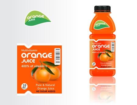 orange juice glass: Set di bottiglie, succhi di frutta ed etichette. Vettoriali