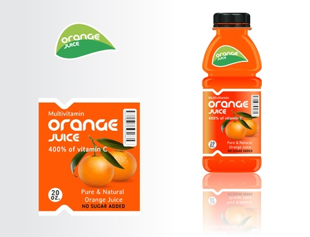 Set of bottles, juice and labels. Vector