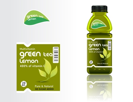 food packaging: Set of bottles, juice and labels. Illustration