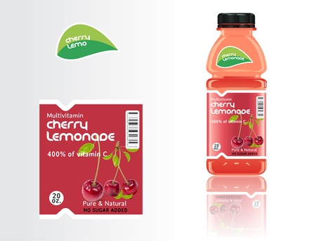 packaging icon: Set of bottles, juice and labels. Illustration