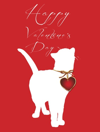 valentine cat: happy valentine s day Illustration