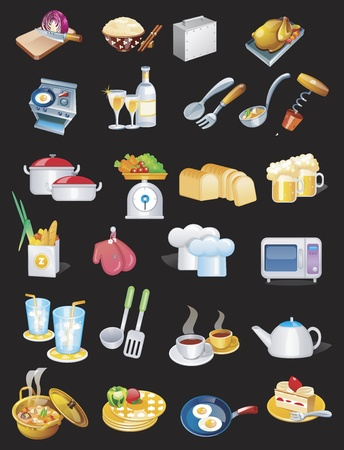 Cooking set and food set Vector