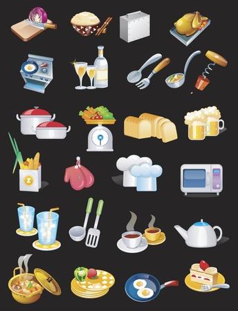 Koken en eten set set Vector Illustratie