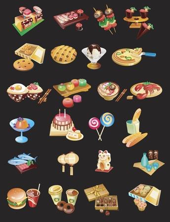 sushi: Internationale gerechten set Stock Illustratie