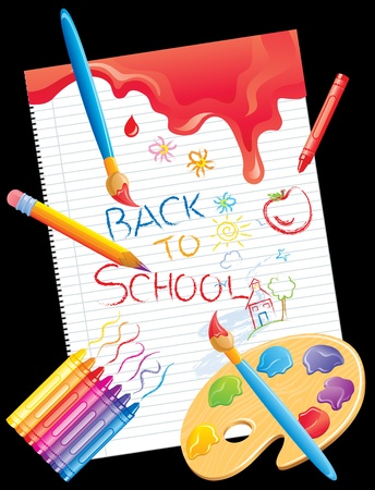 Frame with back to school on A black background. Vector