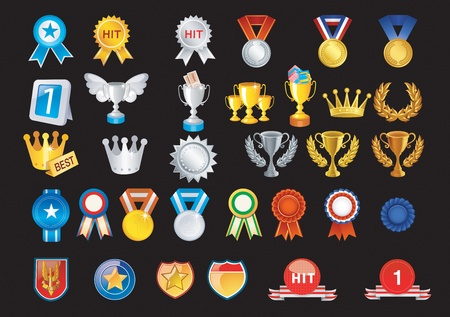 Prizes include medals and other trophies Vector