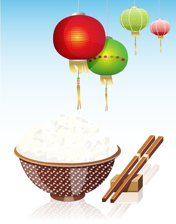 rice grain: Chinese rice and Chinese lamp Illustration