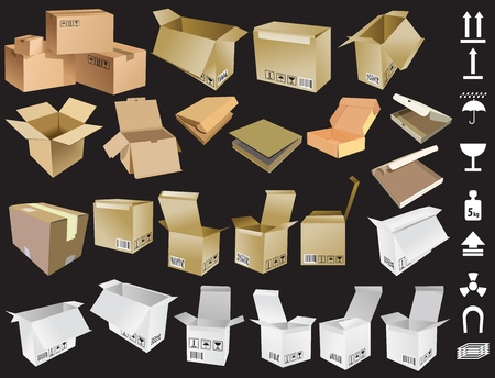 warehouse storage: Collection of Cardboard boxes and signs Illustration