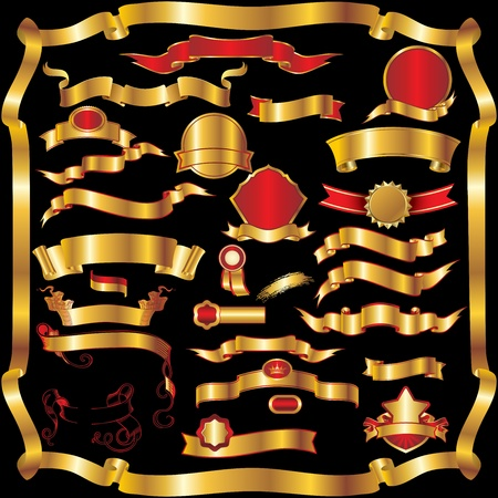 ruban or: Collection de bandes rouges et or ruban