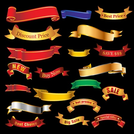 Collection of red and gold ribbon tapes Illustration