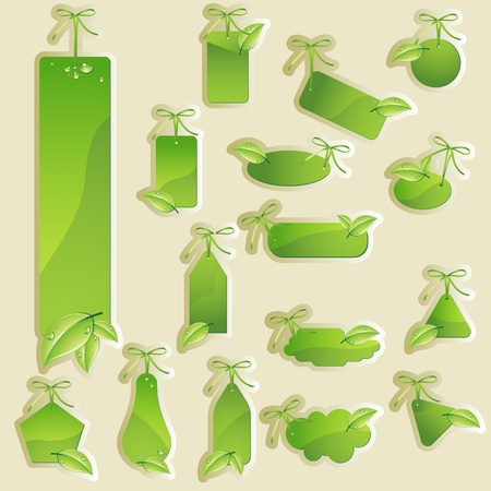 Collection of vector green labels, green tag Vector