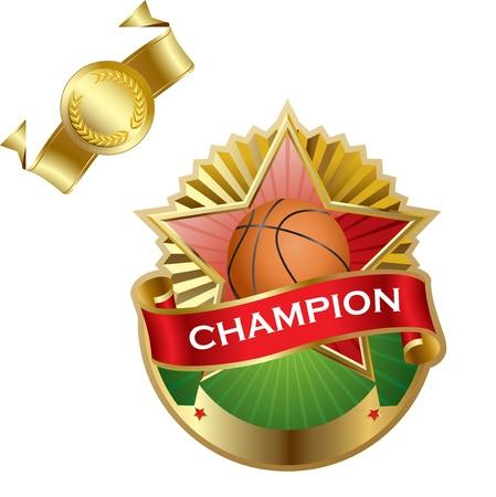 Emblem of sport champion Basketball Vector