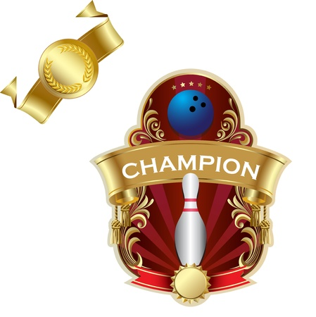 Emblem of sport champion Bowling Vector
