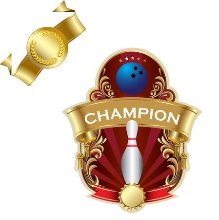 Emblem of sport champion Bowling Stock Vector - 12018888
