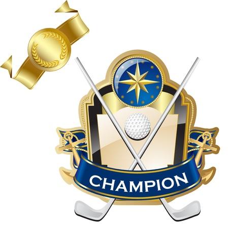 shielding: Emblem of sport champion Golf