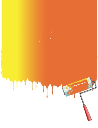 painting and decorating: orange roller painting the white wall. Vector background