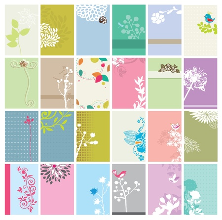 flower card: Vector Set of Floral Business Cards Illustration
