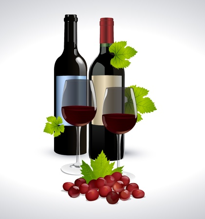 Red wine bottle, glass and grape Vector