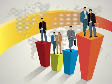 business team meeting: Business people standing on large graph Illustration