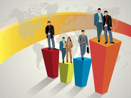 target business: La gente de negocios de pie en el gr�fico de gran Vectores