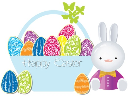 Vector easter bunny with a painted eggs in the basket Vector