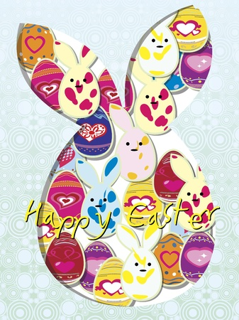 butterfly rabbit: happy Easter card Illustration