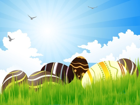 Easter eggs on green grass and bright sky Stock Vector - 12476775