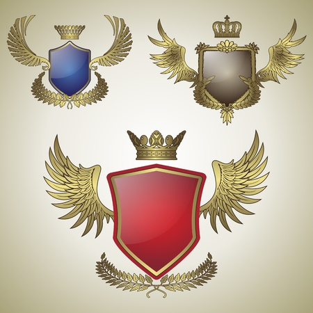 herald: three vector vintage emblem