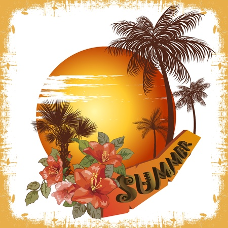 summer illustration palm tree and sun Stock Vector - 12476800