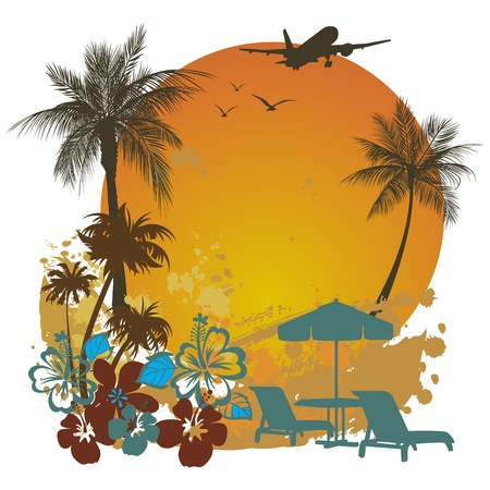 summer illustration palm tree and sun Stock Vector - 12476801