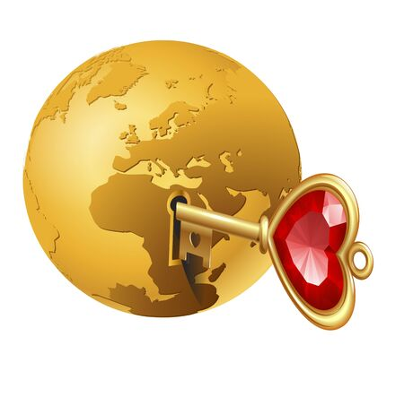 safe world: planet the earth as a lock with a key in it