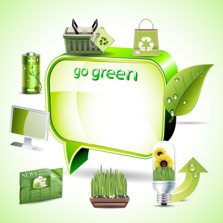 Green environment symbols on text box Vector