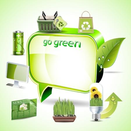 Green environment symbols on text box Stock Vector - 12476815