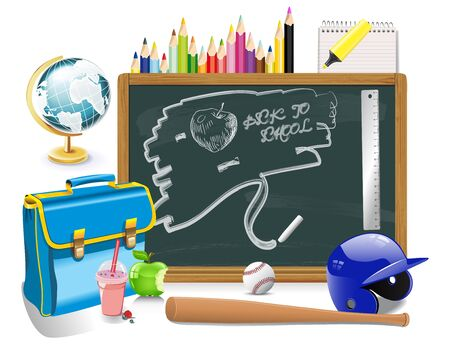 Back to school background with stationery Vector