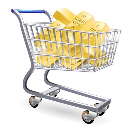 gold rush: Gold bullion in shopping cart