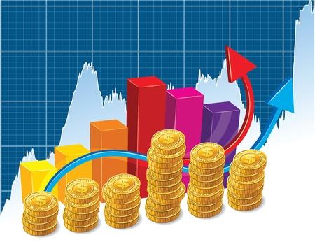 Geld auf einem Hintergrund des Austausches Graph
