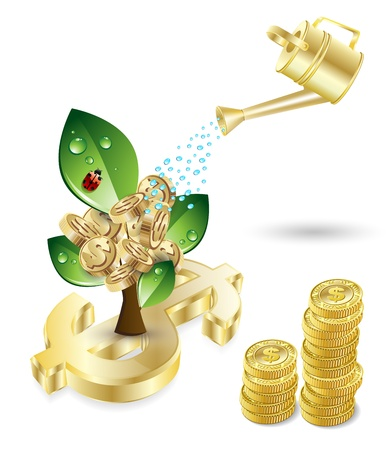 grow money: tree with green leafs and money and blue watering investment concept theme over white Illustration