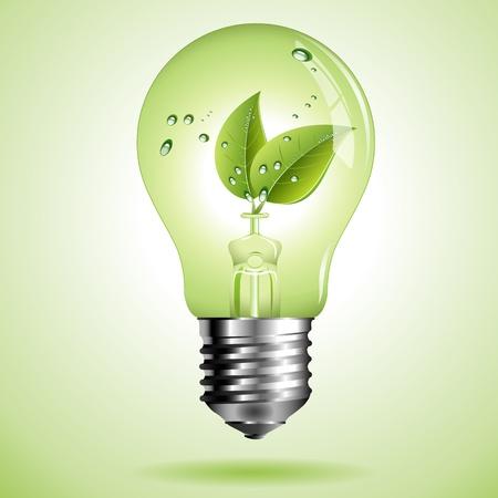 ahorrar agua: Bombilla verde ecol�gico con la hoja verde con las gotas de agua