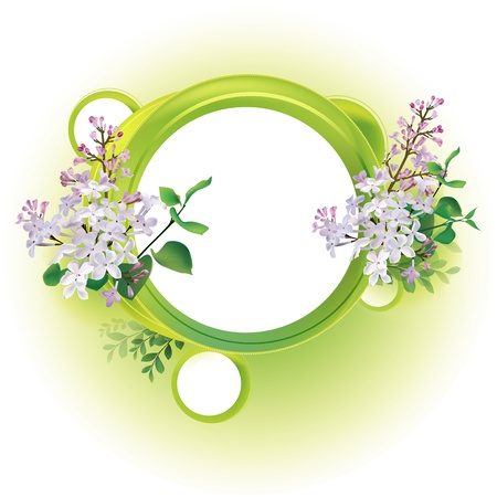 round natural frame with leaves and flowers Stock Vector - 12476786