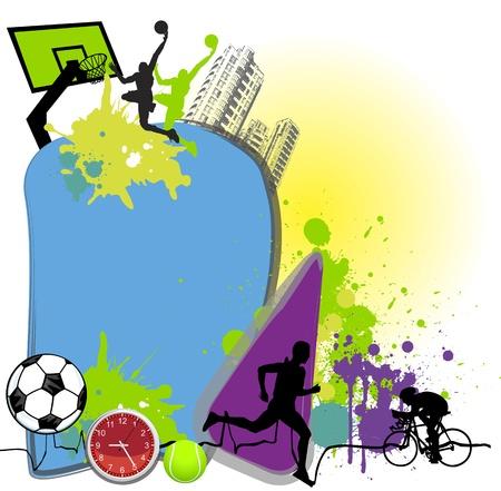 カラフルな商取引ページ レイアウト スポーツ テーマ