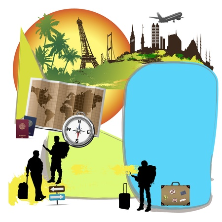 kleurrijke commerce pagina-indeling reisthema