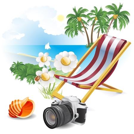 wave tourist: Summer beach  Illustration theme