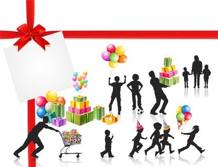 papa y mama: La familia que las tiendas de los ni�os junto pap�, mam�, Vectores